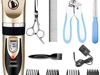 Ceenwes Dog Clippers low Noise Pet Clippers Rechargeable Dog Trimmer Cordless Pet Grooming Tool Professional Dog Hair Trimmer with Comb Guides Scissors Nail Kits for Dogs Cats   Other Gold