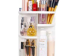 sanipoe 360 Makeup Organizer  DIY Detachable Spinning Cosmetic Makeup Caddy Storage DIsplay Bag Case large Capacity Makeup Box Acrylic Vanity Organizer Box  Great for Countertop and Bathroom  White