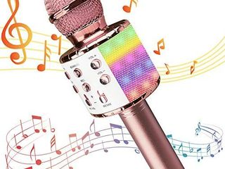 Karaoke Microphone for Kids Adults  Wireless 4 in 1 Handheld Bluetooth Microphone with lED lights  Portable Smartphone Speaker Boys Girls Singing Toys for Home KTV Outdoor Christmas Birthday Party