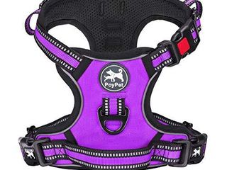 PoyPet No Pull Dog Harness   Release on Neck  Reflective Adjustable No Choke Pet Vest with Front   Back 2 leash Attachments  Soft Control Training Handle for Small Medium large Dogs Purple XS
