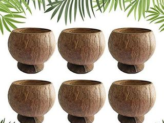 Natural Coconut Shell Cups  12oz Hawaiian Theme luau Party Cups Supplies 6 Pack