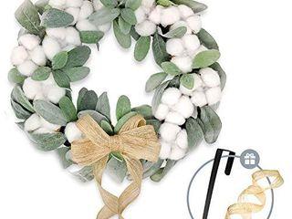 TwistedTwine lambs Ear Cotton Wreath   15  Handmade Farmhouse Decor Includes Storage Gift Box  Wreath Hanger  Removable Burlap Bow    Extra Ribbon