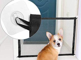 EXPAWlORER Dog Safety Magic Gate   Black Mesh Foldable Portable Anywhere Installed Isolation for Small Pets