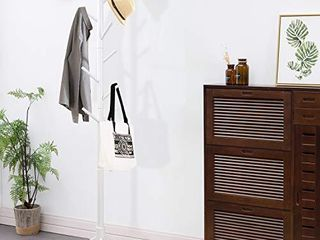 Clewiltess Wooden Tree 8 Hooks Coat Rack Stand  Hallway Entryway Coat Hanger Stand for Clothes  Suits  Accessories Super Easy Assembly  White
