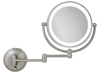 Zadro 10X 1X Magnification Next Generation lED lighted Wall Mount Mirror  Satin Nickel  1 0 Count