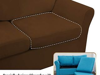 FINERFIBER Velvet High Stretch 4 Piece Sofa Slipcover   Thick Couch Cover for Pets   Couch Covers for 3 Cushion Couch   Furniture Protector for 3 Separate Cushion Couch Machine Washable  Sofa Black
