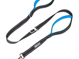 PoyPet 5 Feet Dog leash   3M Reflective   2 Cushioned Handles   Functional Car Seat Belt Blue