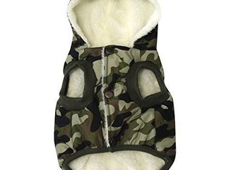Vecomfy Fleece and Cotton lining Extra Warm Dog Hoodie in Winter for Small Dogs Jacket Puppy Coats with Hooded Green Camo M