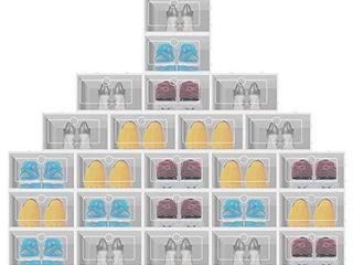 Transparent Shoe Storage Box   Folding large Size Shoe Storage Box with lid for Women Men  4  6Pcs with lid  Black