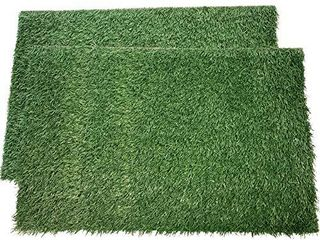 lOOBANI Dog Grass Pee Pads  Artificial Turf Pet Grass Mat Replacement for Puppy Potty Trainer Indoor Outdoor Use   Set of 2  18 x28