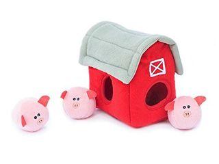 ZippyPaws   Farm Pals Burrow  Interactive Squeaky Hide and Seek Plush Dog Toy   Bubble Babiez Pig Barn
