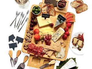 Frux Cheese Board and Knife Set  14 5x13x2 Inch Wood Charcuterie Platter for Wine  Cheese  Meat with 2 Hidden Drawers  6 Appetizer Forks  6 Slate labels  4 Stainless Steel Knives and 2 Ceramic Bowls