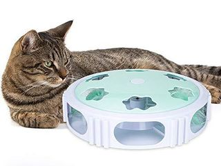 DElOMO Interactive Cat Toy  Automatic Teaser Cat Toy for Your Cat Training  Cat Squeaky Mouse Toy with Feather Bell and lED light Stimulate Cat s Hunting Instinct  Green