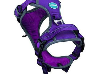 ThinkPet No Pull Harness Breathable Sport Harness with Handle Dog Harnesses Reflective Adjustable for Medium large Dogs Back Front Clip for Easy Control M Purple
