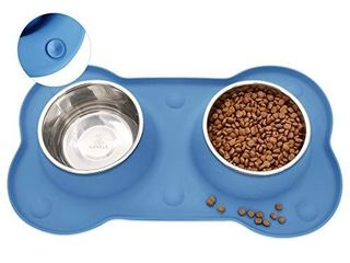 Canple Dog Bowl Stainless Steel Dog Bowls Food Water Pet Feeder with No Spill Non Skid  Strong Suction Cup  Silicone Mat Waterproof for Pets Dogs  54 OZ  Blue