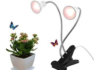 Dommia lED Grow light for Potted Plants  Dual Head Desk Clamp lamp with Swivel 360 Degree Flexible Gooseneck and One Switch  Warmwhite Comfortable light Growing lamp for Home and Office Indoor Plants