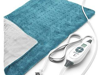 Pure Enrichmentr PureRelief Xl  12 x24  Electric Heating Pad for Back Pain and Cramps   6 InstaHeat Settings  Machine Washable  Ultra Soft Microplush  Auto Shut Off  and Moist Heat  Turquoise Blue