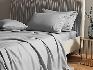 SAKIAO Queen Size Bed Sheets Set   Brushed Microfiber 1800 Thread Count Percale   16  Deep Pocket Egyptian Sheets Beautiful Breathable Wrinkle Free   Fade Resistant   4 Piece  Grey Queen