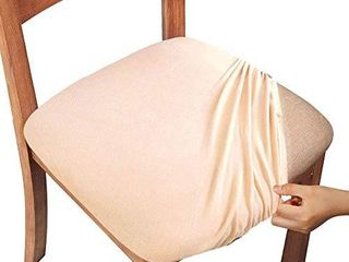 Gute Chair Seat Covers  Dining Room Chair Seat Covers with Ties  Stretch Solid Chair Covers Protectors for Dining Room Kitchen Chairs  Set of 4  Beige