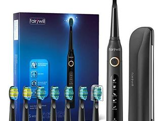 Fairywill Electric Toothbrush Powerful Sonic Cleaning  ADA Accepted Rechargeable Toothbrush with Timer  5 Modes 8 Brush Heads  4 Hr Charge last 30 Days Whitening Toothbrush for Adults and Kids Black