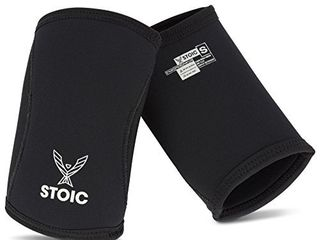 Elbow Sleeves for Powerlifting   7mm   5mm Thick Neoprene Sleeve for Bodybuilding  Weight lifting Best for Squats  Cross Training  Strongman Professional Quality   Ultra Heavy Duty  Pair  by Stoic