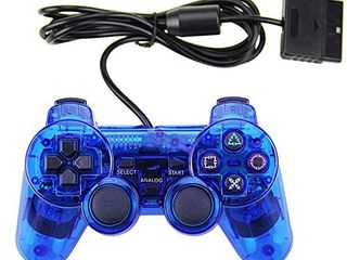 PS2 Wired Controller  Double Shock Dual Vibration Twin Shock Gamepad for Sony Playstation 2  Blue