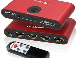 AVMTON 4K HDMI 2 0 Switch 3 Port HDMI Switcher Splitter 3 in 1 Out Aluminum Red HDMI Selector Box with Remote Supports 4K 60Hz Ultra HD3D 2160P 1080P for DVD PS3 4 TV X Box Fire Stick Blu Ray Player