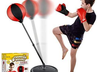 Punching Bag Set for Kids Included Punching Ball with Stand Boxing Training Gloves Hand Pump and Adjustable Height Stand Boxing Ball Set Toy for 3 4 5 6 7 8 10 Year Old Boys and Girls Best Gift