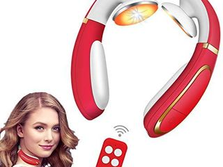 Electric Pulse Neck Massager  Cordless Smart Massage Equipment with Heat  Neck Massager for Women Men Office Home Travel  Great Gift for Christmas Birthday Valentine s Day Father s Mother s Day Red