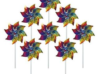 In The Breeze 2868 Sparkling Mylar Pinwheel Decorative Spinner 8 Piece Bag  Rainbow Whirl 8 PC
