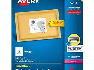 Avery Shipping Address labels  laser Printers  150 labels  3 1 3x4 labels  Permanent Adhesive  TrueBlock  5264  White