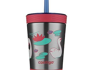 Contigo Stainless Steel Spill Proof Kids Tumbler with Straw  12 oz  Wink with Swans Swimming