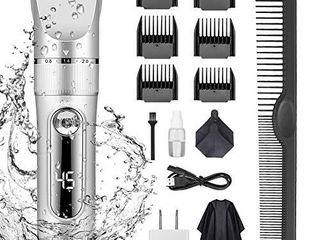 KERUITA Electric Hair Clippers for Men Quiet lED Display Cordless Rechargeable Hair Trimmers Set  IPX7 Waterproof Haircut Barber Trimmer Kit with Hairdressing Cape