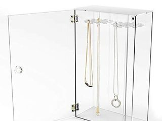 Acrylic 24 Hooks Rotation Necklace Display Stand Pendant Display Organizer Holder Dust proof Jewelry Display Box