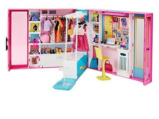Barbie Dream Closet with 30  Pieces  Toy Closet  Features 10  Storage Areas  Full length Mirror  Includes 5 Outfits  Gift for Kids 3 to 7 Years Old  Pink