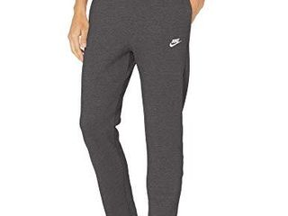 Nike Men s NSW Club Pant Open Hem  Charcoal Heather Anthracite White  large