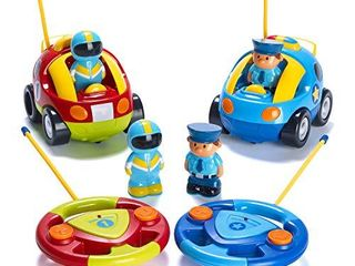 Prextex Pack of 2 Cartoon R C Police Car and Race Car Radio Control Toys for Kids  Each with Different Frequencies So Both Can Race Together