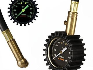 Summit Tools Tire Pressure Gauge with Glow Dial  0 to 100 PSI  Hold Valve  10 in  Flexible Hose  Pressure Bleeding Button  Rubber Head Cover  Automobile Accessory