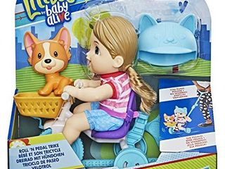 Baby Alive littles  Roll n Pedal Trike  Doll Tricycle with Push Stick  little Jade Doll  Pet Accessory  Toy for Kids 3 Years Old and Up