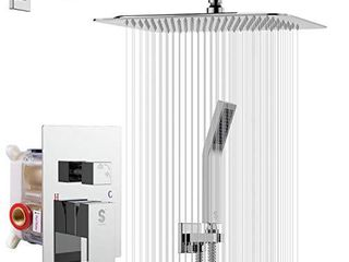 SR SUN RISE SRSH F5043 Bathroom luxury Rain Mixer Combo Set Wall Mounted Rainfall Shower Head System Polished Chrome   Contain Faucet Rough in Valve Body and Trim
