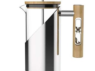StramperPress  French Press coffee maker   HourGlass Timer  Coffee Press   Silver  Stainless Steel