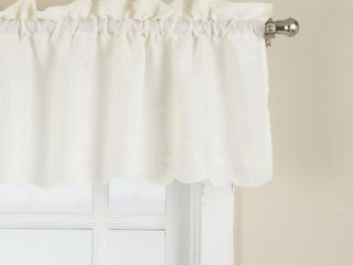 lORRAINE HOME FASHIONS Candlewick Tailored Valance  60 by 12 Inch  Cream  Set Of 2