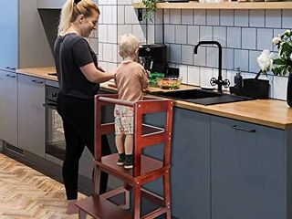 Wishalife Kids Kitchen Step Stool  Toddler Step Stool  Toddler Stool with Safety Anti Slip Protection   Solid Hardwood Construction   Perfect for Toddlers 18 Months and Older  Walnut Color