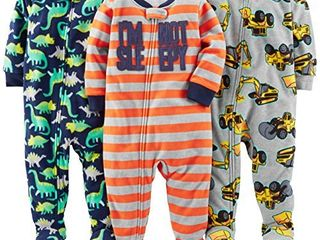 Simple Joys by Carter s Baby Boys  3 Pack loose Fit Flame Resistant Fleece Footed Pajamas  Red Stripe Diggers Dino  18 Months