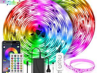 UAlAU 65 6FT lED Strip lights  5050 RGB Brighter 600 lEDs light Strip Kits fwith APP   Remote Control  led lights for Bedroom  Room  Kitchen  Ceiling and TV
