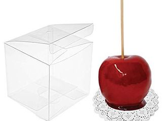 JOERSH Clear Candy Apple Box with Hole Top Pack of 30   4  x 4  x 4  PET Gift Boxes for Caramel Apples  Ornaments   Transparent Boxes for Wedding  Party and Baby Shower Favors  Food in Safe Fits Standard Apples