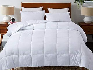 DOWNCOOl Down Alternative Quilted Comforter White lightweight Duvet Insert or Stand Alone Comforter with Corner Duvet Tabs  Full 82x86 Inches