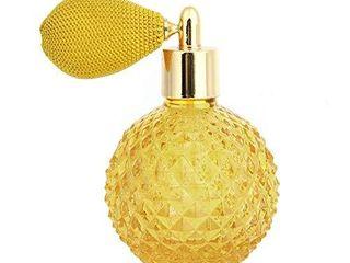 Topxome 1pcs 100ml Vintage Perfume Bottle Short Spray Atomizer Refillable Empty Glass  Yellow