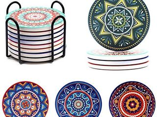 Absorbing Stone Mandala Coasters for Drinks Cork Base  with Holder  for Friends  Men  Women  Funny Birthday Housewarming  Apartment Kitchen Room Bar Decor  Set of 8  S 01
