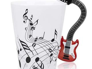 lanHong   13 5 oz Musical Notes Design Guitar Coffee Mugs Drink Tea Milk Coffee Mug Ceramic Music Cup Gift for Friend  Red